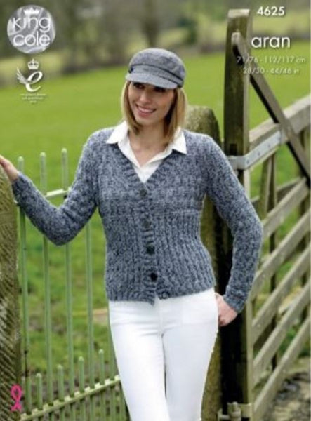 Cardigan & Sweater in King Cole Fashion Aran Combo (4625)-Deramores