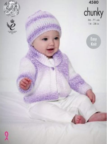 Cardigan, Waistcoat & Hat in King Cole Baby Soft Chunky - Big Value (4580)-Deramores