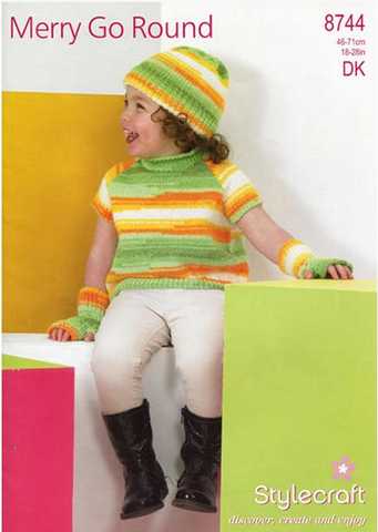 Cardigan, Top, Wrist Warmers and Hat in Wondersoft Merry Go Round (8744)