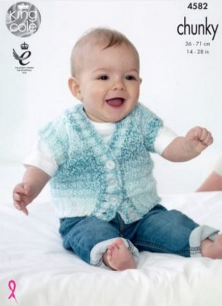 Waistcoat in King Cole Baby Soft Chunky - Big Value (4582)