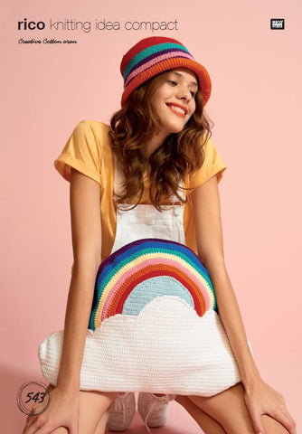 Cloud Cushion with Rainbow in Rico Creative Cotton Aran - 543