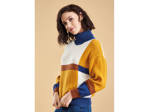 Let's Knit Colour Block Top in King Cole Luxury Merino DK