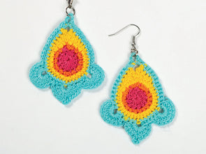 Colourburst Earrings Crochet Kit and Pattern in Rico Design Yarn