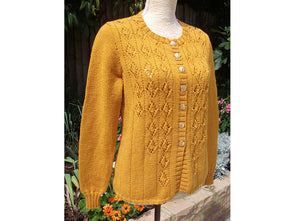 Cable and Eyelet Cardigan by Pat Menchini in King Cole Luxury Merino DK