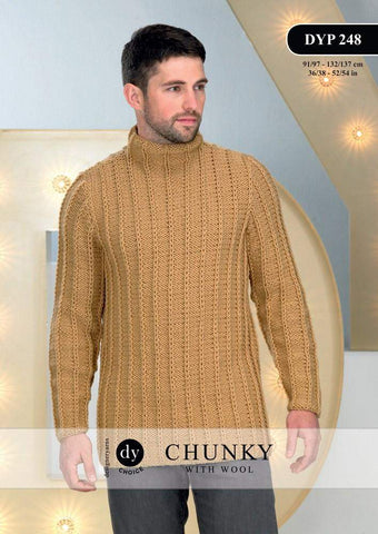 Mans Sweater With Funnel Neck in DY Choice Chunky With Wool (DYP248)