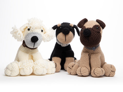 Poodle, Pug & Rottweiler Crocheted Dera-dogs by Heather C. Gibbs in Deramores Studio DK (TV Bundles)