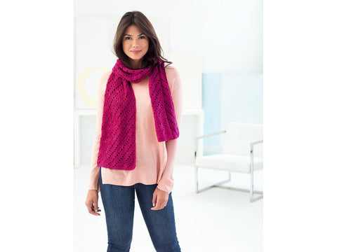 Diagonal Eyelets Shawl Crochet Kit and Pattern in Lion Brand Yarn