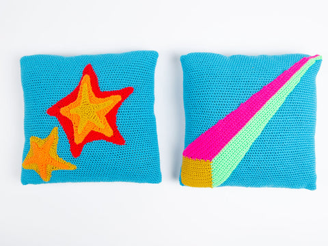 Dynamite & Laser Beam Cushions By Zoë Potrac in Stylecraft Special DK