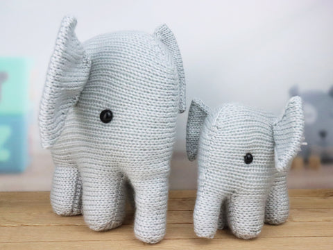 Mummy and Baby Elephant Knitting Kit and Pattern in Deramores Yarn