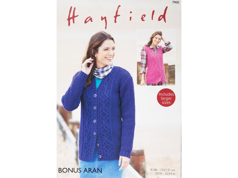 Cardigan and Waistcoat in Hayfield Bonus Aran (7900)