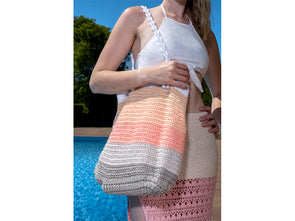 Cotton Stripes Beach Bag by HanJan Crochet in Rico Design Creative Cotton Aran