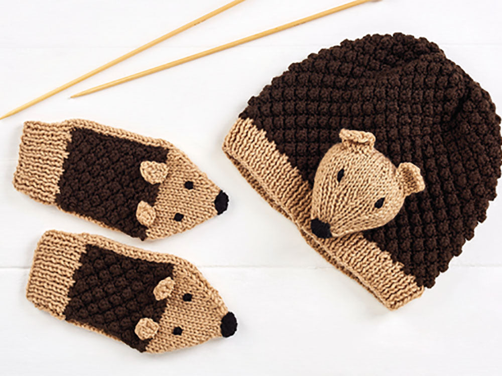 Let's Knit Child's Hedgehog Hat and Mittens in Deramores Studio DK
