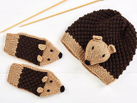 Let s Knit Child s Hedgehog Hat and Mittens in Deramores Studio DK 3a536b46c07
