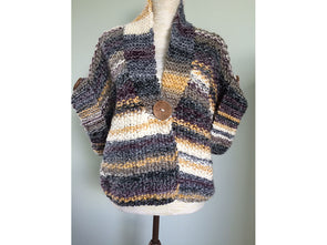 Slouchy Fit Jacket with Fold Back Buttoned Cuffs by Pat Menchini in King Cole Gypsy Super Chunky