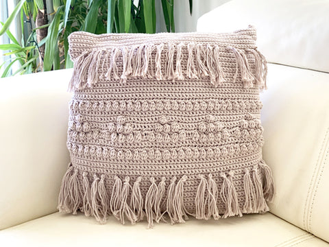 Fringe Style Cushion Crochet Kit and Pattern in Deramores Yarn
