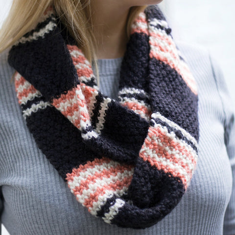 Striped Out Infinity Scarf by Vickie Howell - Digital Product