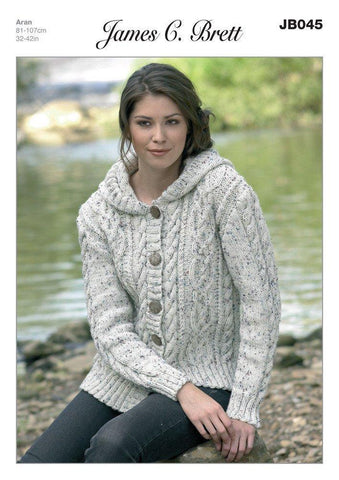 Ladies Hooded Cardigan in James C. Brett Rustic with Wool Aran (JB045)