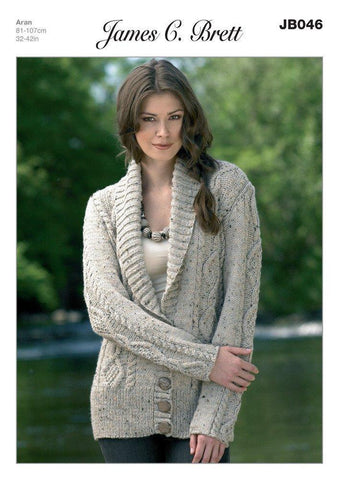 Shawl Collar Jacket in James C. Brett Rustic with Wool Aran (JB046)