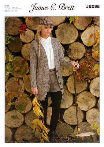 Cable Long Cardigan in James C. Brett Rustic with Wool Aran (JB098)