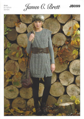 Ladies Waistcoat in James C. Brett Rustic with Wool Aran (JB099)