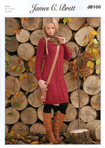 Jumper Dress in James C. Brett Rustic with Wool Aran (JB100)