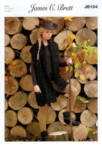 Ladies Long Waistcoat in James C. Brett Rustic with Wool Aran (JB104)