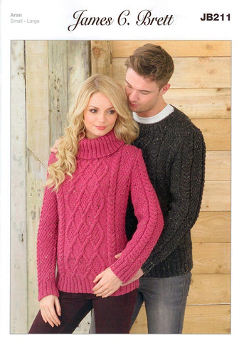 Mens and Ladies Sweaters in James C. Brett Rustic with Wool Aran (JB211)