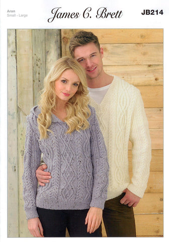 Mens and Ladies Sweaters in James C. Brett Rustic with Wool Aran (JB214)