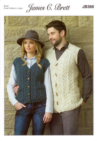 Mens and Ladies Waistcoat in James C. Brett Rustic with Wool Aran (JB366)