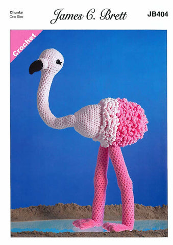 Flo the Flamingo in James C. Brett Flutterby (404)-Deramores