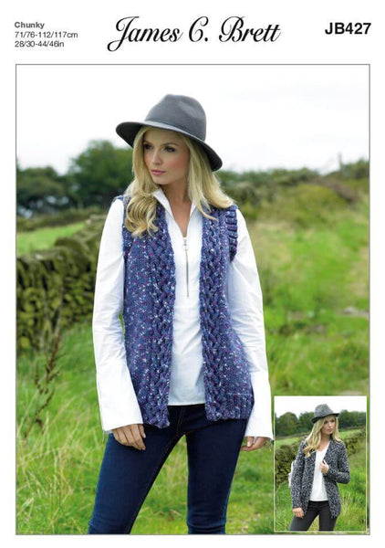 Women's Waistcoat and Jacket in James C. Brett Highlander Chunky (JB427)
