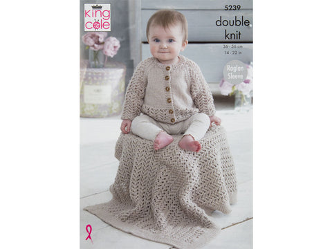 Baby Raglan Cardigan, Blanket & Hat in King Cole Baby Glitz DK