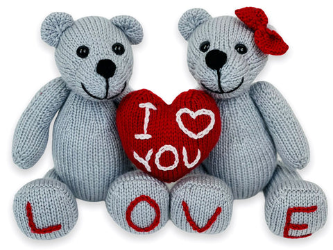 I Love You Teddies Knitting Kit and Pattern in Deramores Yarn