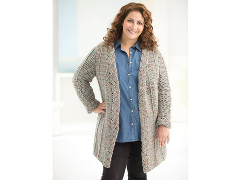 Curvy Girl Crochet Cabled Cardigan in Lion Brand Heartland (L50167)