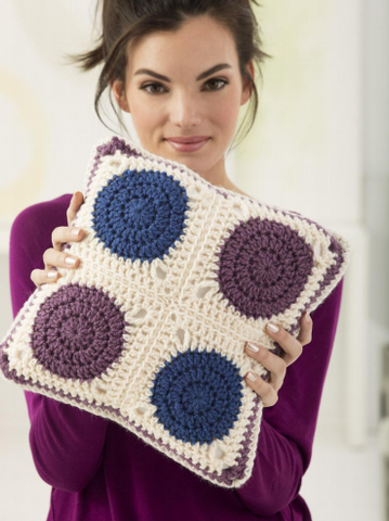 Motif Pillow Crochet Kit and Pattern in Lion Brand Yarn (L60341)