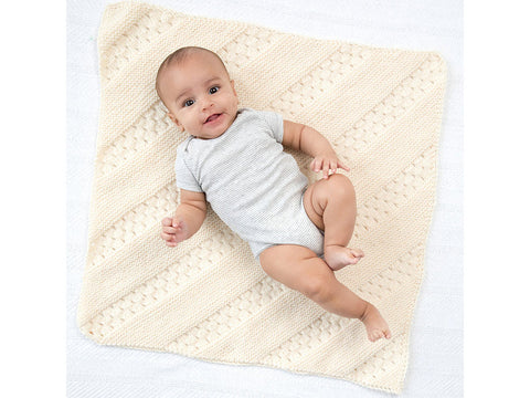 Diagonal Eyelet Baby Afghan in Lion Brand Vanna's Choice (L70252)