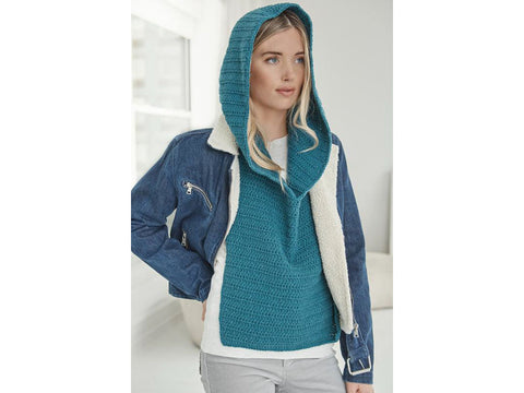 Waterloo Hooded Cowl in Lion Brand Feels Like Butta (L70257)