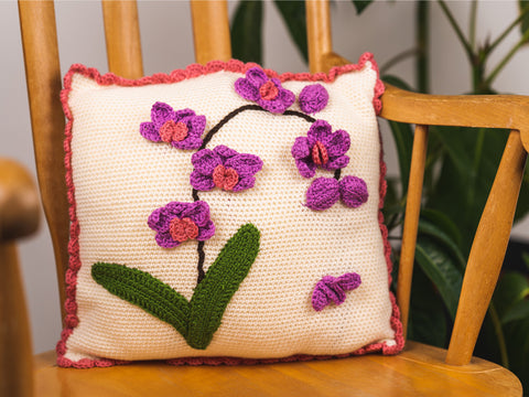 Orchid Cushion Crochet Kit and Pattern in Deramores Yarn