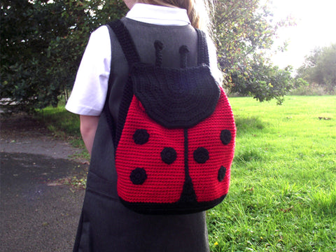 Lady Bug Child Backpack Crochet Kit and Pattern in Deramores Yarn