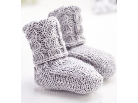 Let's Knit Cute Cable Slippers in West Yorkshire Spinners Bo Peep Luxury Baby DK
