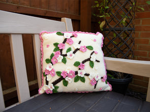 Apple Blossom Cushion Crochet Kit and Pattern in Deramores Yarn