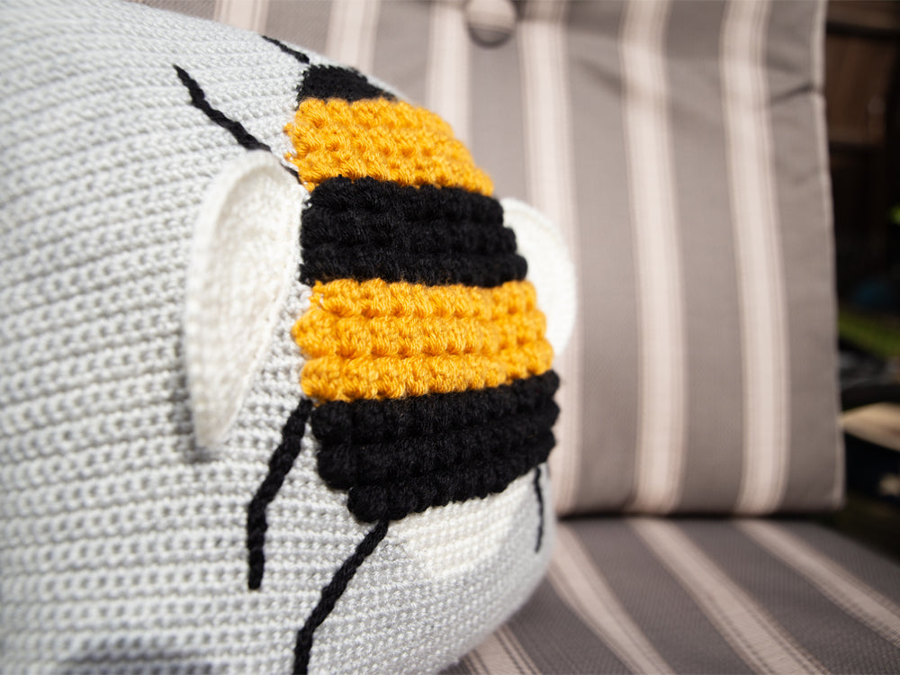 Queen Bee Cushion Crochet Kit and Pattern in Deramores Yarn