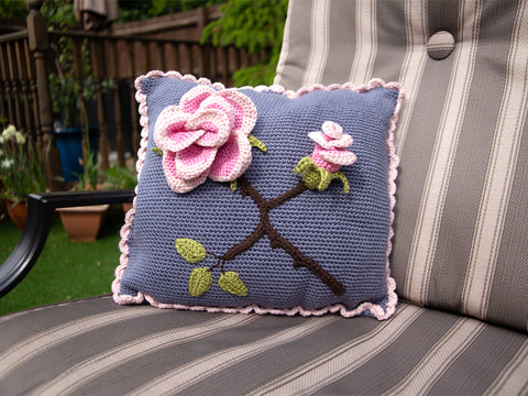 Rose Cushion Crochet Kit and Pattern in Deramores Yarn