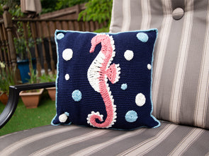 Seahorse Cushion Crochet Kit and Pattern in Deramores Yarn