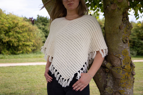 Knitted Eyelet Poncho Knitting Kit and Pattern in Deramores Yarn