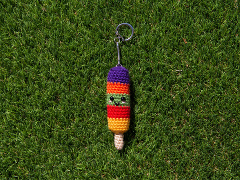 Fruity Stripes Ice Lolly Keyrings Crochet Kit and Pattern in Deramores Yarn