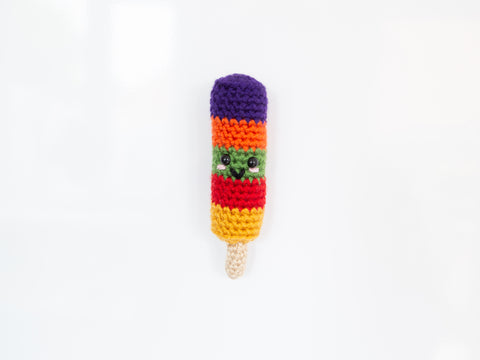 Fruity Stripes Ice Lolly Fridge Magnet Crochet Kit and Pattern in Deramores Yarn