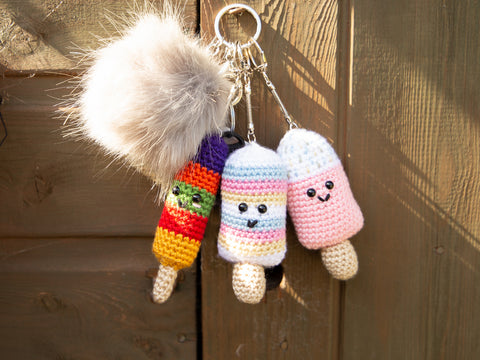 Ice Lollies Keyrings Crochet Kit in Deramores Yarn