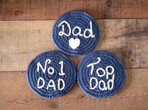 Fathers Day Coasters Crochet Kit and Pattern in Deramores Yarn
