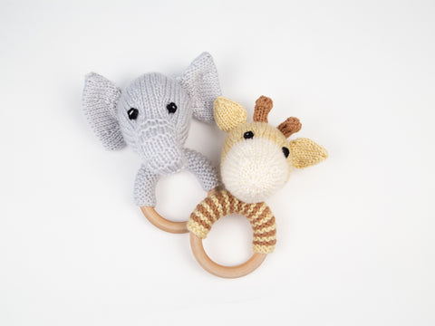 Jungle Animals Baby Rattles Knitting Kit & Pattern in Deramores Yarn